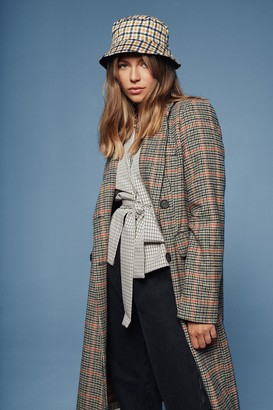 Nasty Gal Womens We're Out Oversized Check Coat - Orange