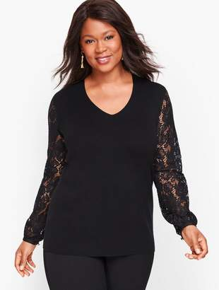 Talbots Lace Poet Sleeve Sweater