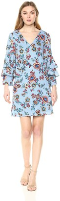 Nicole Miller Women's Tier Bell Sleeve a-line Dress