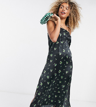 Reclaimed Vintage inspired satin cami midi dress with embroidery detail