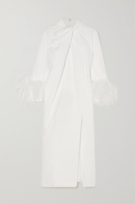 16Arlington Fujiko Feather-trimmed Knotted Crepe Midi Dress - White
