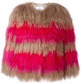 MSGM striped fur jacket