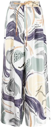 Alysi Abstract-Print Palazzo Trousers