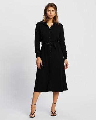 Atmos & Here Atmos&Here - Women's Black Midi Dresses - Ashlyn Linen-Blend Midi Dress - Size 6 at The Iconic