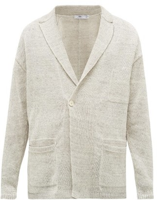 Inis Meáin Double-breasted Linen Cardigan - Mens - Beige