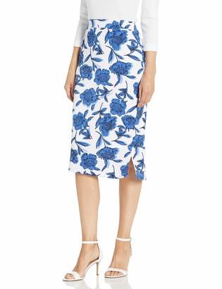 Kasper Women's Shadow Floral Printed Moss Crepe Lined MIDI Slim Skirt with Side Slits