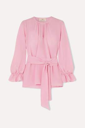ARoss Girl x Soler Amanda Belted Silk Crepe De Chine Top - Blush