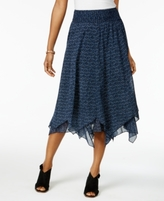 Style&Co. Style & Co Style & Co Petite Cotton Printed Handkerchief-Hem Skirt, Created for Macy's