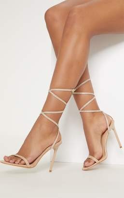 PrettyLittleThing Nude Ankle Diamante Heel