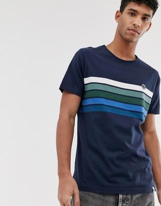 Pretty Green chest stripe t-shirt in navy