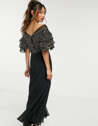 Virgos Lounge embellished midaxi dress in black and gold