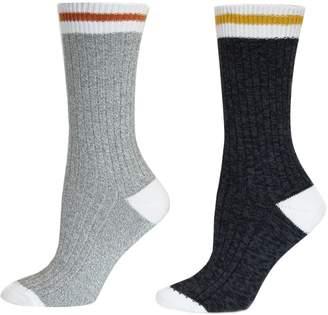 Point Zero Women's 2-Pack Striped Crew Socks
