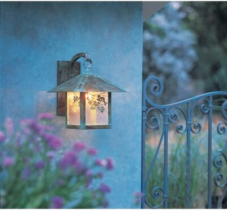 """Mica McLoud 1-Light Outdoor Wall Lantern Millwood Pines Size / Filigree: 19.5"""" H x 16"""" W x 19.5"""" D / Sycamore, Color: Pewter, Shade Type: Amber"""