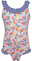 John Lewis Girls' Floral Stripe Swimsuit, Blue Multi