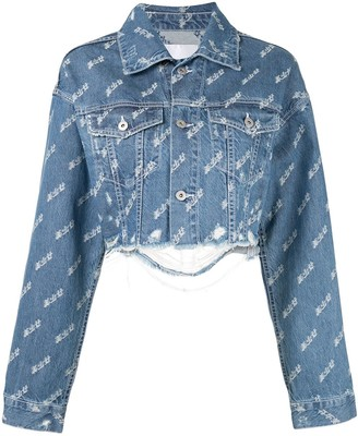 Ground Zero cropped distressed print denim jacket