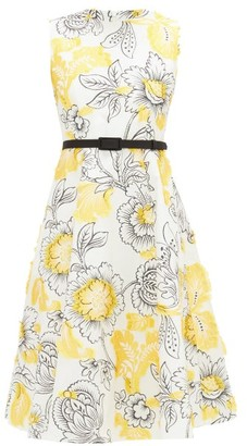 Erdem Farrah Belted Floral Fil-coupe Dress - Yellow White