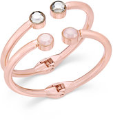 INC International Concepts Rose Gold-Tone Clear and Pink Crystal Hinged Cuff Bracelet, Only at Macy's