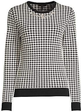 Escada Women's Sapiro Embellished Houndstooth Wool-Blend Sweater