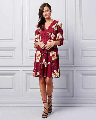 Le Château Floral Print Knit Crepe Wrap-Like Dress