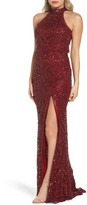 Mac Duggal Women's Beaded A-Line Halter Gown