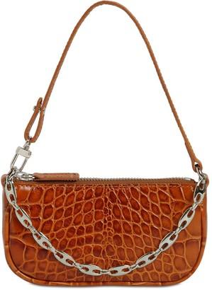 BY FAR Mini Rachel Croc Embossed Leather Bag