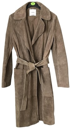 MANGO Beige Suede Trench Coat for Women