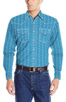 Wrangler Men's 20x Long Sleeve Two Pocket Snap Blue Woven Shirt