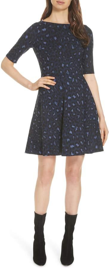 Kate Spade leopard print lace-up ponte dress