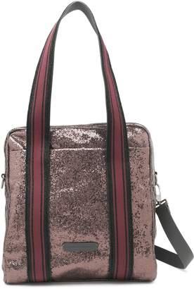 Brunello Cucinelli Striped Metallic Textured-leather Shoulder Bag