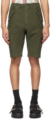 R 13 Green Military Cargo Shorts