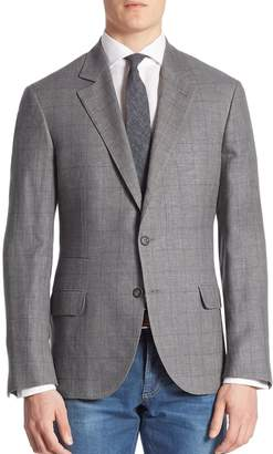 Brunello Cucinelli Windowpane Wool Blend Plaid Jacket