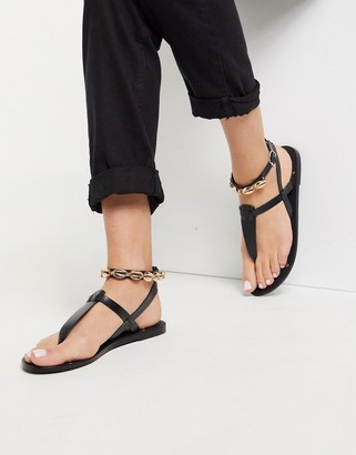 ASOS DESIGN Fara leather toe post sandal with shell detail