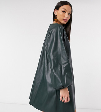 Asos Tall ASOS DESIGN Tall leather-look swing mini dress in forest green