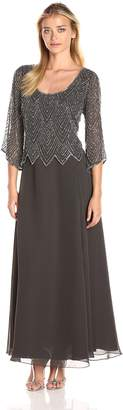 J Kara Women's Scoop Neck 3/4 Sleeves Long Dress