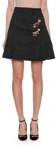 Dolce & Gabbana A-Line Pleated Jacquard Short Skirt w/ Embellished Pin Detail