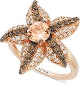 LeVian Le Vian Chocolatier® Peach Morganite (5/8 ct. t.w.) and Diamond (7/8 ct. t.w.) Starfish Ring in 14k Rose Gold