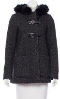 Maje Wool-Blend Fur-Trimmed Jacket