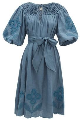 Innika Choo Hugh Jesmok Embroidered Linen Dress - Dark Blue