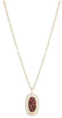 Kendra Scott Anna Long Pendant Necklace (Gold Bronze Veined Maroon Jade) Necklace