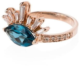 Jacquie Aiche 14kt gold topaz Burst diamond ring