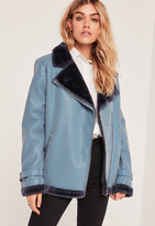 Missguided Fur Lined Pilot Jacket Blue