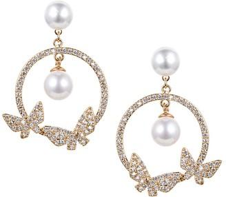 Eye Candy La Luxe Faux Pearl & Crystal Drop Earrings