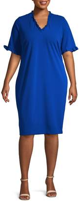 Calvin Klein Collection Plus Ruffled Sheath Dress