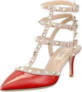 Valentino Rockstud Patent Leather Sandal, Red