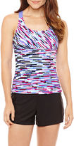 ZeroXposur Geo Linear Tankini Swimsuit Top