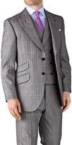 Charles Tyrwhitt Grey Check Slim Fit British Panama Luxury Suit Wool Jacket Size 36