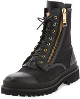 Versace Small Medusa Leather & Jacquard Combat Boot, Black