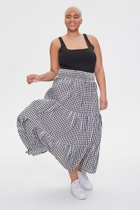 Forever 21 Plus Size Gingham Midi Skirt