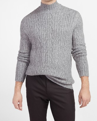 Express Chevron Cable Knit Mock Neck Sweater