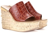 Chloé Camille embossed leather platform wedge sandals